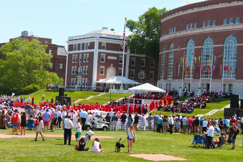 Students filing up to receive diplomas at Wesleyan University Graduation Middletown Conneticut USA circa May 2015. Students are filing up to receive diplomas at stock image