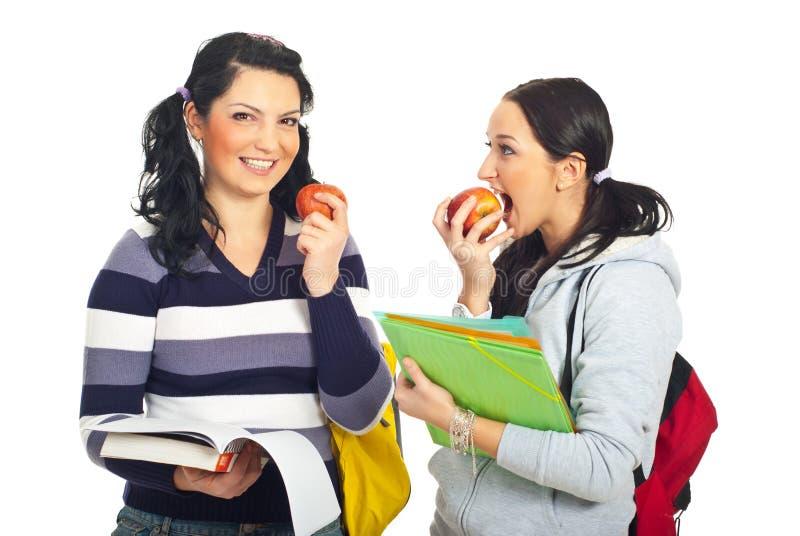 Students girls in a school break stock photos