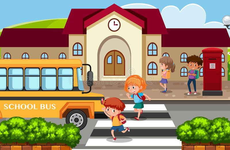 Students go back home by school bus stock illustration