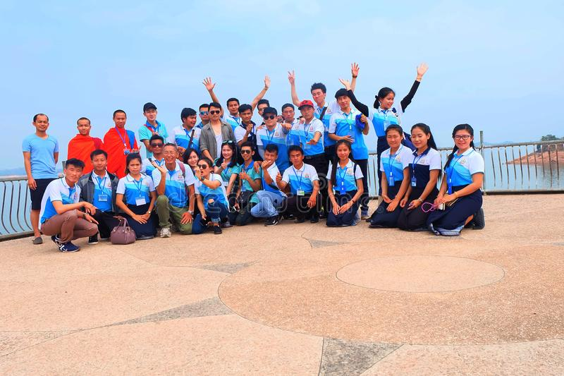 Students go on study Tour in Num Ngum Dam, LAos. Students go on study tour in Num Ngum Dam , They are studying at Physic education in NUOL royalty free stock photos
