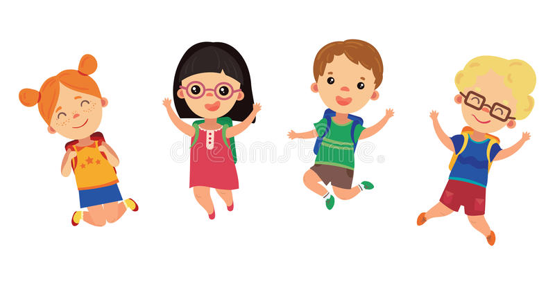 Students go to school. Happy children in a jump. Boys and girls with backpacks. Joyful kids. Illustration for children. stock illustration