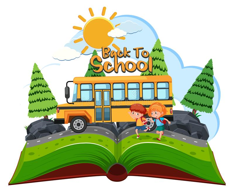 Students going to school by bus vector illustration