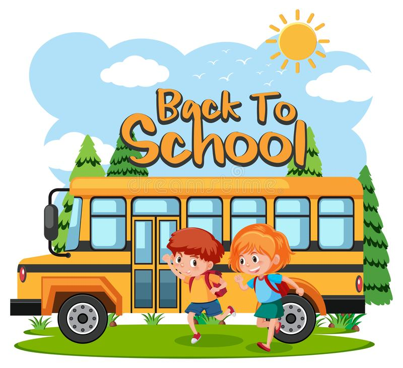 Students going to school by bus royalty free illustration