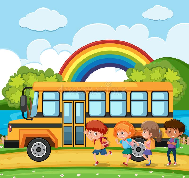 Students going to school by bus stock illustration