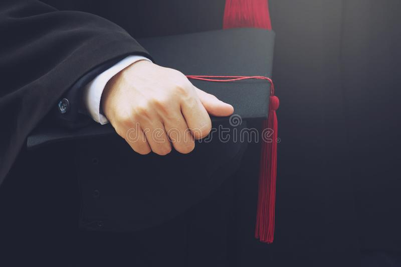 Students graduate at University To be a national And socially acceptable. Shot of graduation hats during commencement success graduates of the university royalty free stock photos
