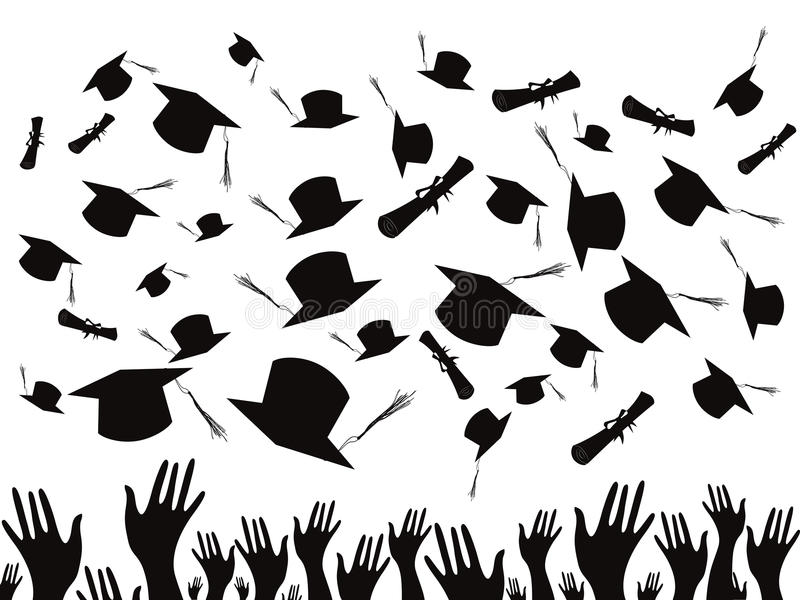 Download Students Graduating And Tossing Caps Stock Vector - Image: 22308501