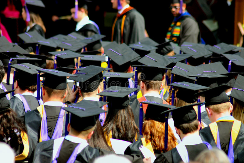 Students at graduation stock image