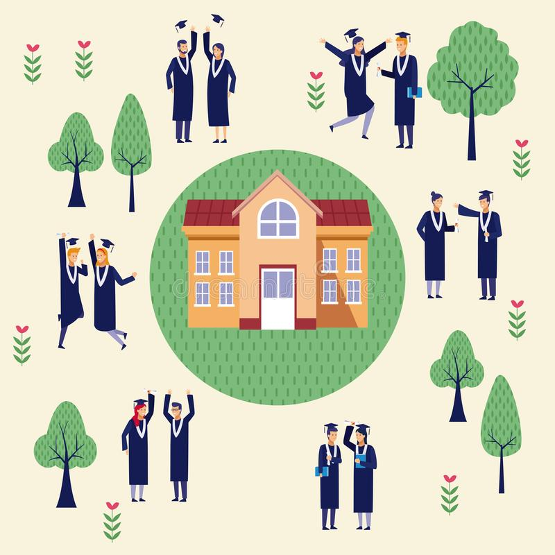 Students graduation celebration. Students celebrating graduation outside university topview scenery vector illustration graphic design stock illustration