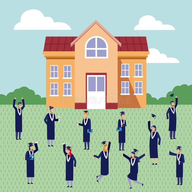 Students graduation celebration. Students with gown celebrating graduation outside university building vector illustration graphic design vector illustration