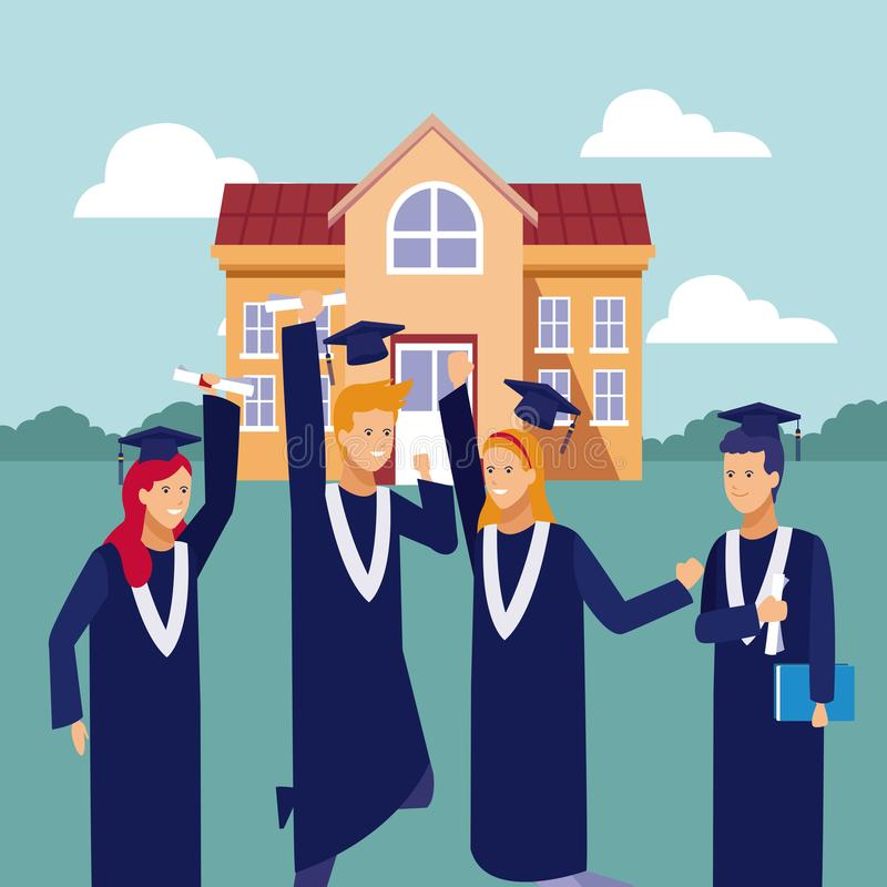 Students graduation celebration. Students with gown celebrating graduation outside university building vector illustration graphic design stock illustration