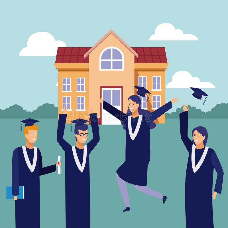 Students graduation celebration. Students with gown celebrating graduation outside university building vector illustration graphic design royalty free illustration