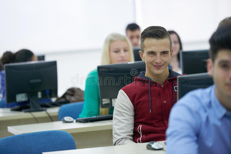 Students group in computer lab classroom. Technology students group in computer lab classroom royalty free stock photo