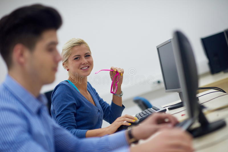Students group in computer lab classroom. Technology students group in computer lab classroom stock photography