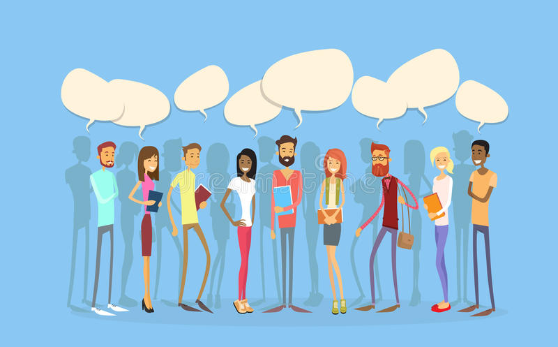 Students Group People Chat Bubble Social Network Communication. Young Man Woman Full Length Stand In Line Flat Vector Illustration vector illustration
