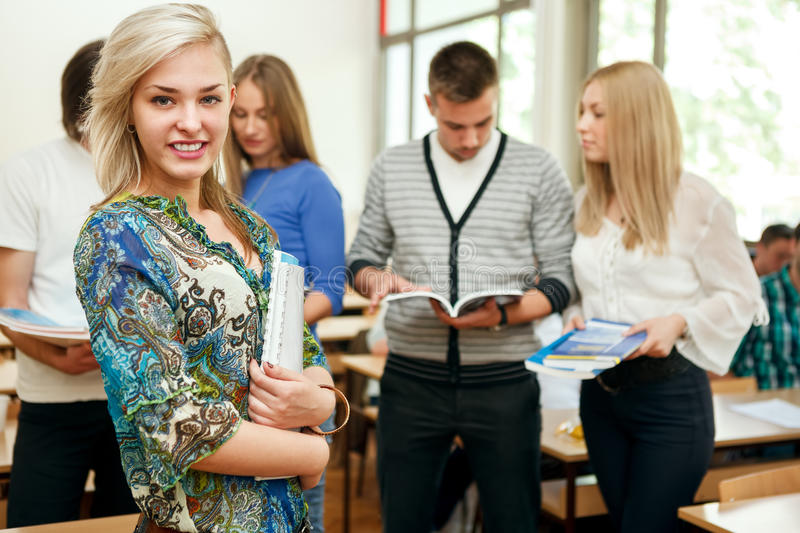 Students group at university stock photography
