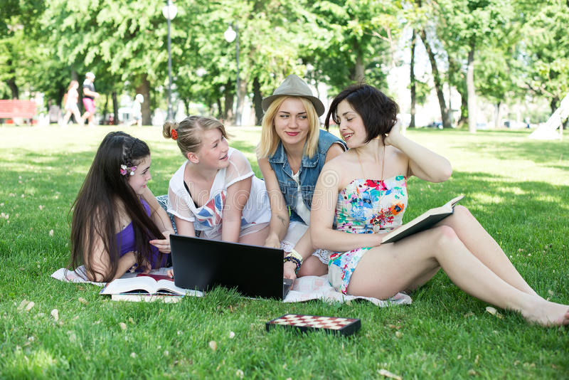Students having lesson outdoor royalty free stock photography