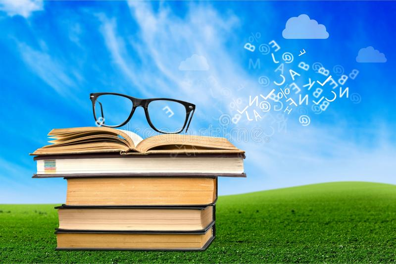Students. Hipster books nerd glasses university retro stock images