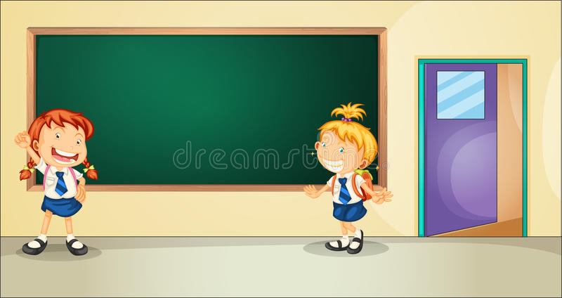 Students. Illustration of two students inside the classroom stock illustration