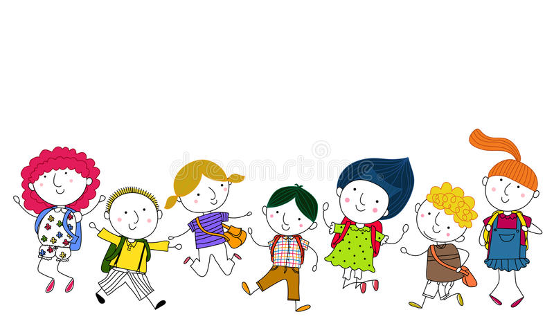 Students Jumping. Illustration of group of students Jumping stock illustration