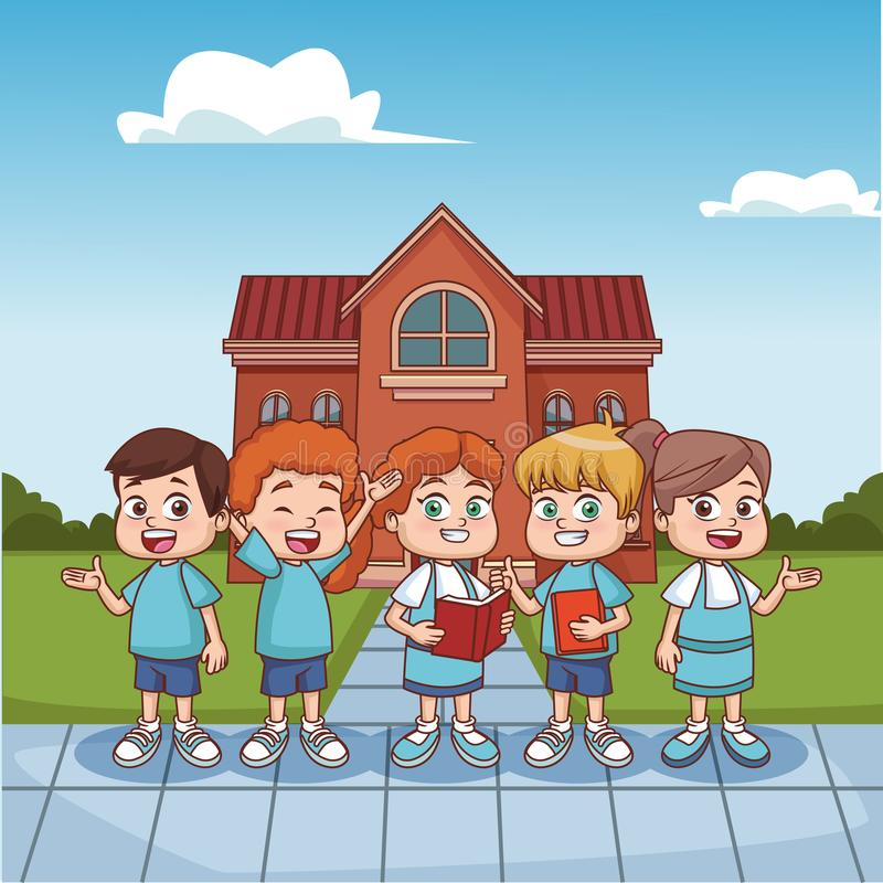 Students kids outside school building. Vector illustration graphic design stock illustration