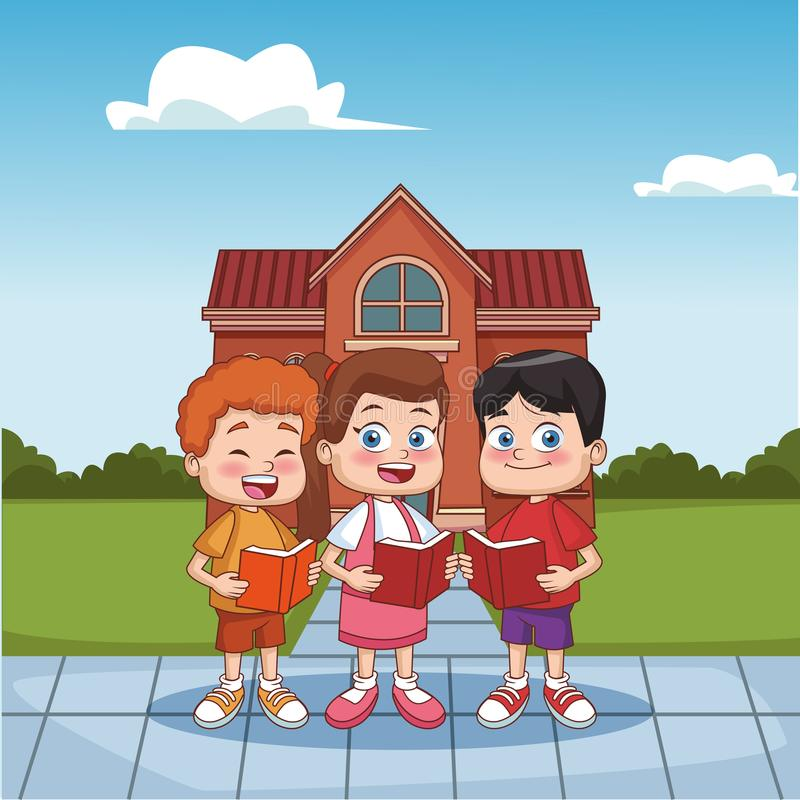 Students kids outside school building. Vector illustration graphic design royalty free illustration