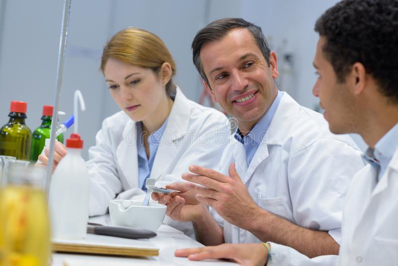2 students in lab royalty free stock photography