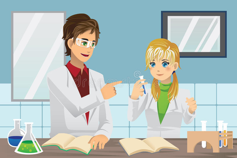 Students in lab. A vector illustration of students experimenting in chemistry lab stock illustration