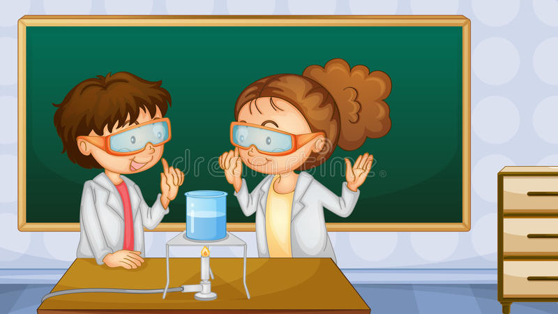 Students in lab. Illustration of two students working in the lab vector illustration