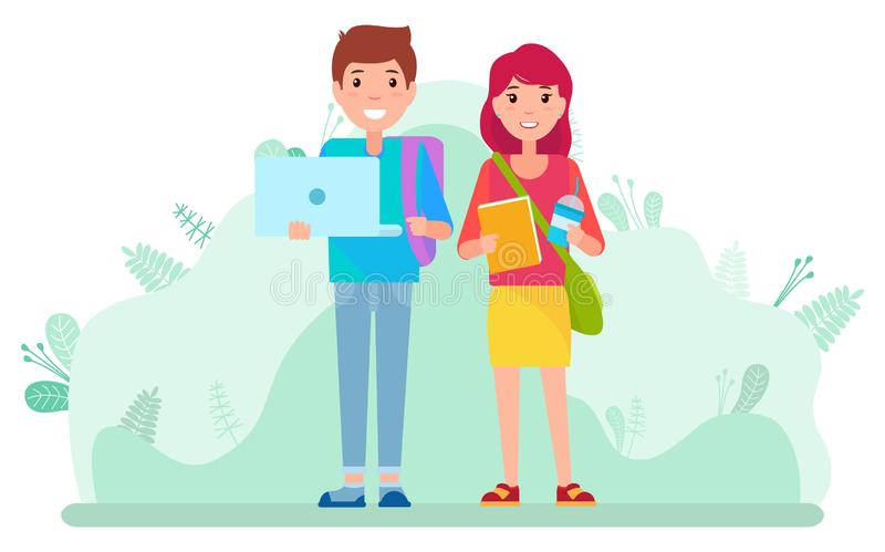 Students with Laptop and Books Walking Outside. Couple of students with textbook, laptop and cup of coffee walking in park together. Two smiling and cheerful royalty free illustration