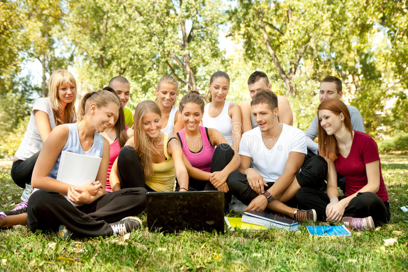 Download Students With Laptop In Park Stock Image - Image: 21745447