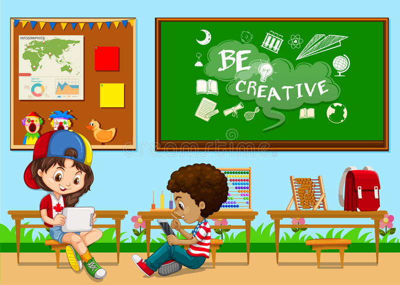 Students learning in the classroom vector illustration