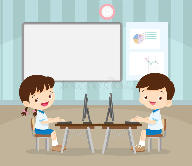 Students learning with computer royalty free illustration