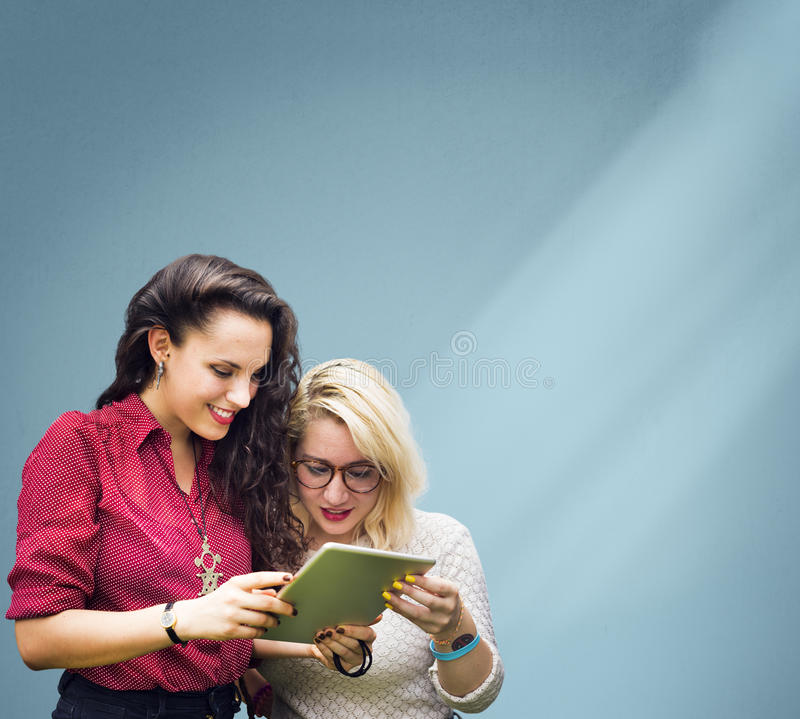 Students Learning Education Cheerful Social Media Girls Concept stock photo