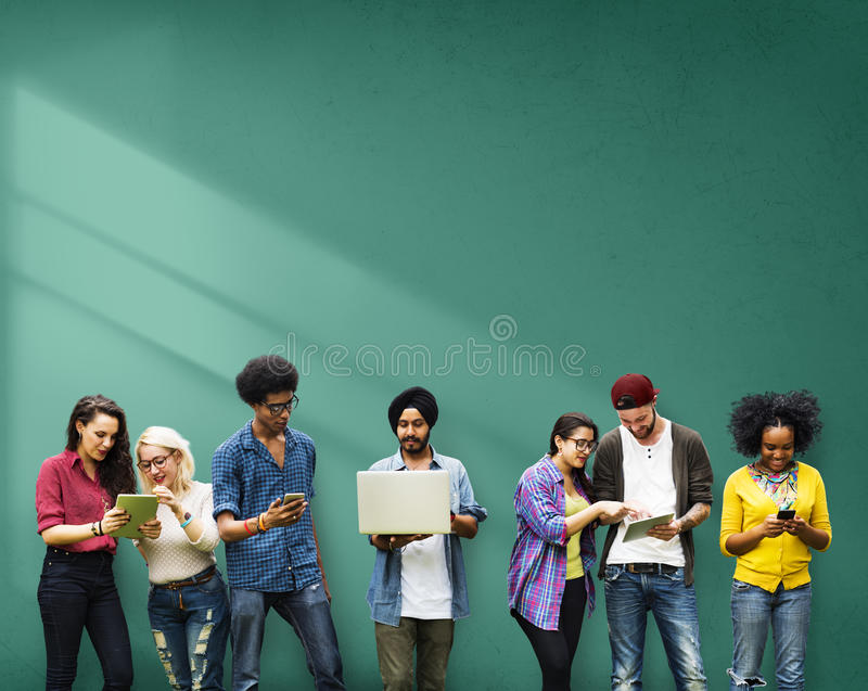 Students Learning Education Social Media Technology stock images