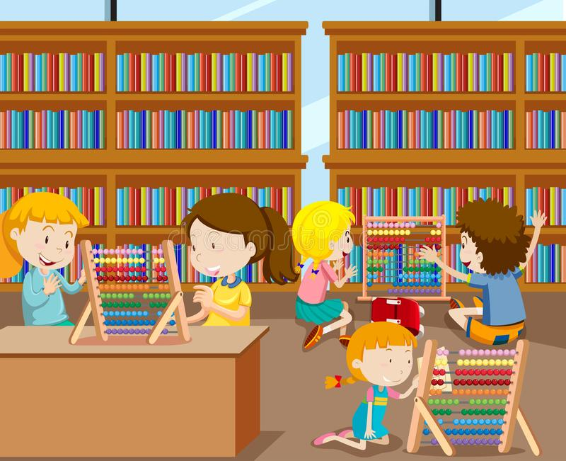 Students learning math with abacus royalty free illustration