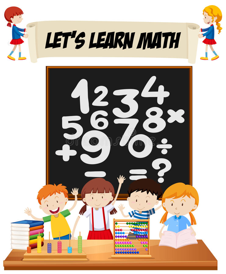Students learning math in classroom royalty free illustration