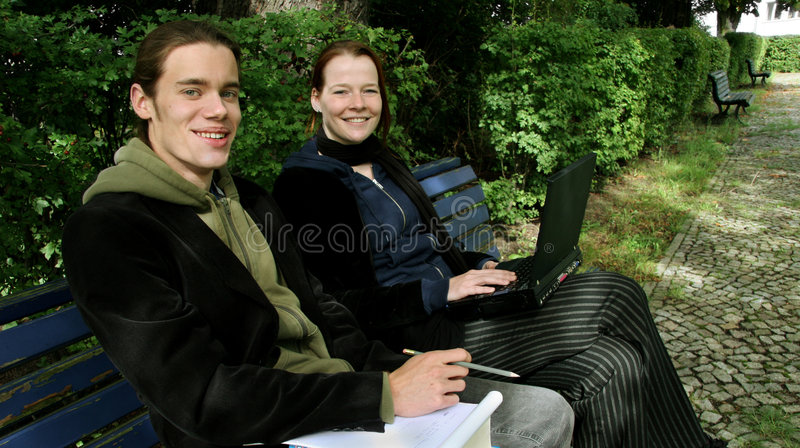 Download Students learning outside stock photo. Image of pair, talking - 3192838