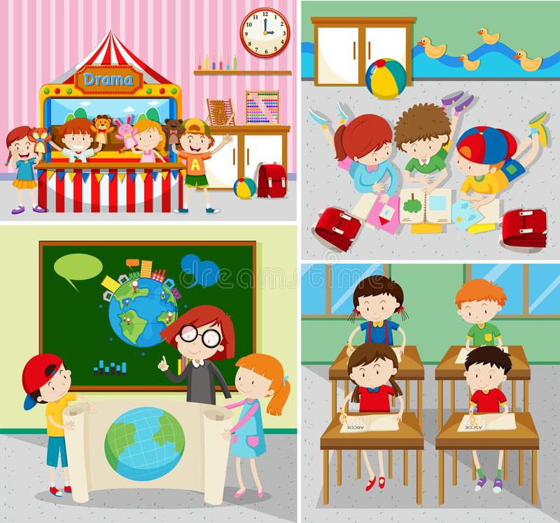 Students learning and playing in classrooms vector illustration