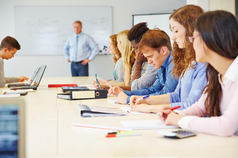 Students learning in university stock images