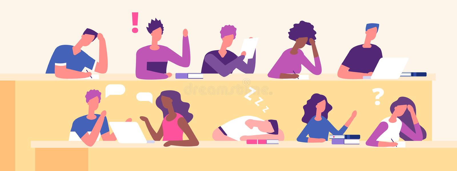 Students at lecture. Lecture hall, examination time, education vector concept. Student on seminar education, lecture for audience illustration vector illustration