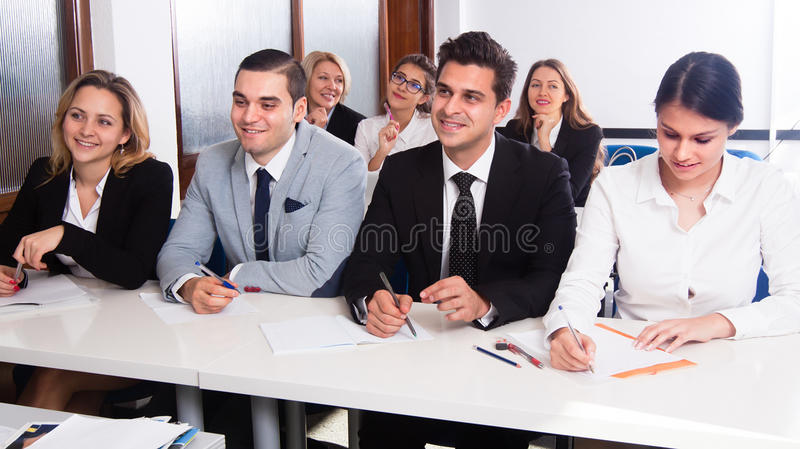 Students listen to lecture stock photos