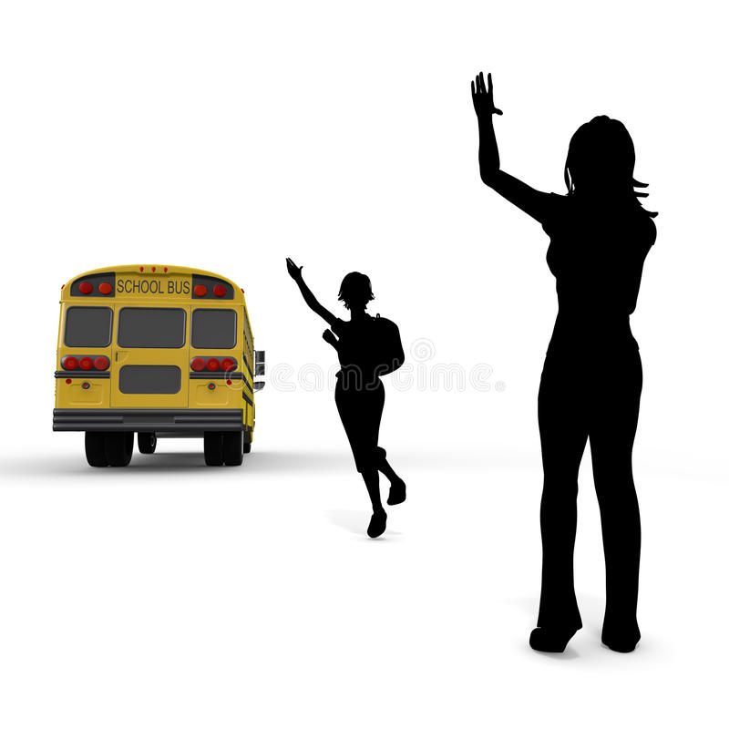 Students and mother. Student of the morning. Landscape of school. Take advantage of the school bus. I fit in friends. Students run. I get on the bus vector illustration