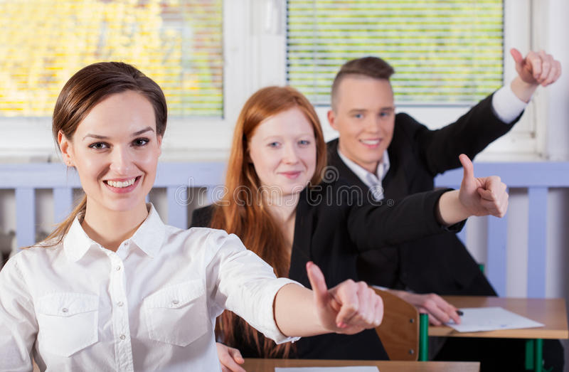 Download Students with okay gesture stock photo. Image of education - 43072932