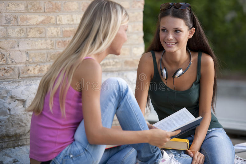 Download Students outdoors stock image. Image of ready, schoolbag - 15758575