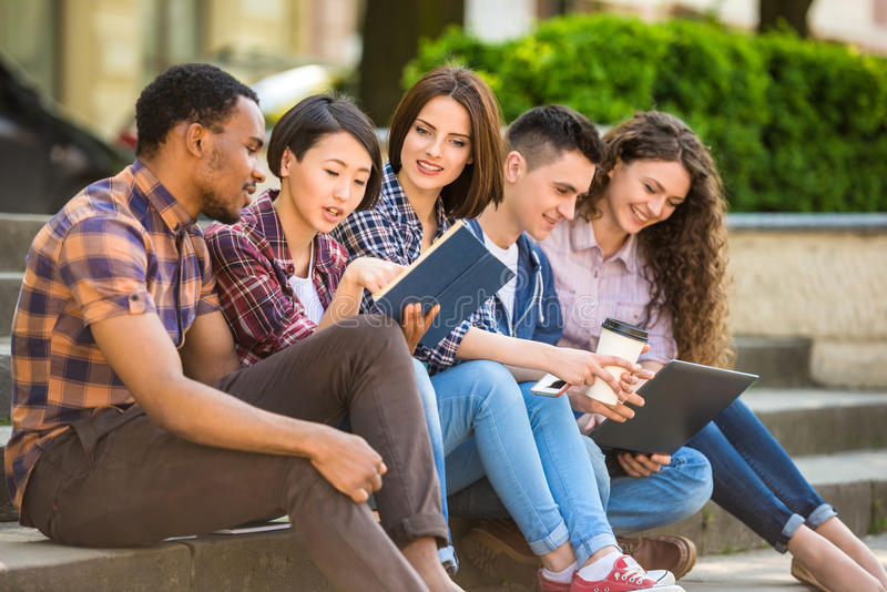 Students outdoors royalty free stock photo