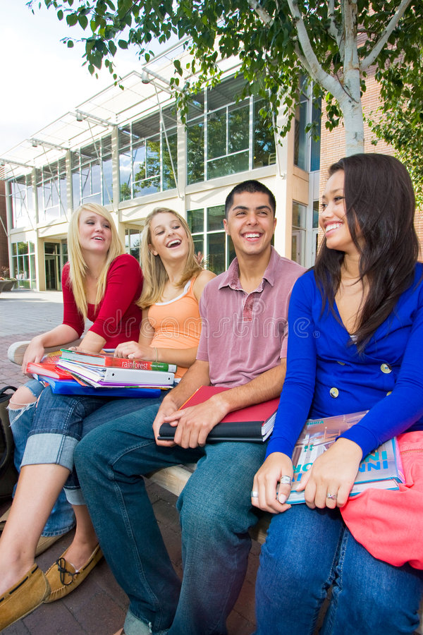 Students Outside Of School Royalty Free Stock Images