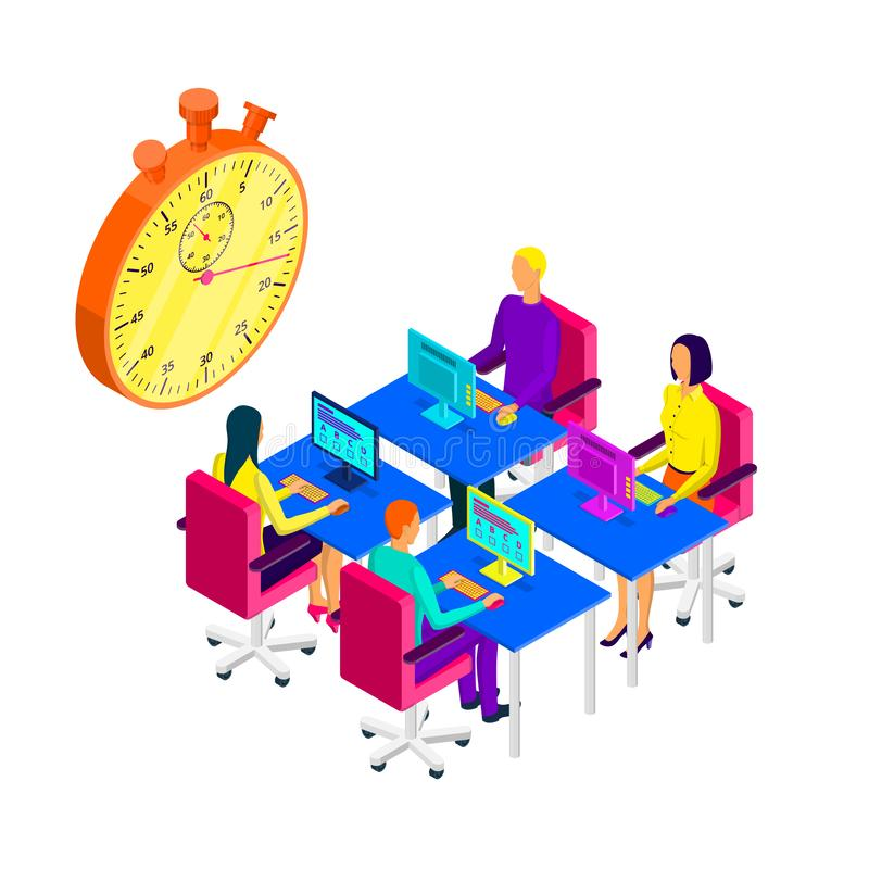 Students pass exam test, vector isometric illustration. Online learning and distance education modern concept royalty free illustration