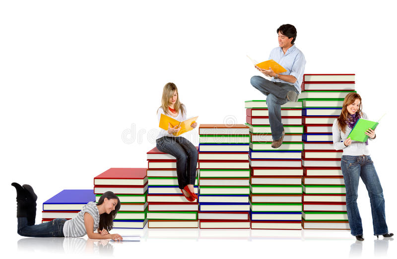Download Students With A Pile Of Books Stock Photo - Image: 16035242