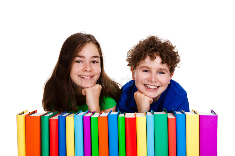 Download Students and pile of books stock image. Image of isolated - 19510689