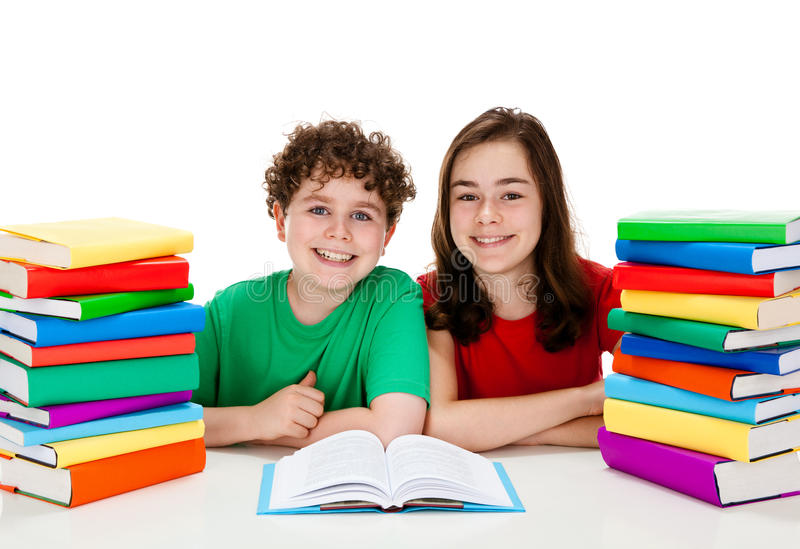Download Students and pile of books stock photo. Image of home - 22994402